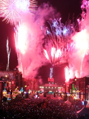 Fireworks ring in the new year during the New Year's Eve Bash on Broadway Jan. 1, 2016.