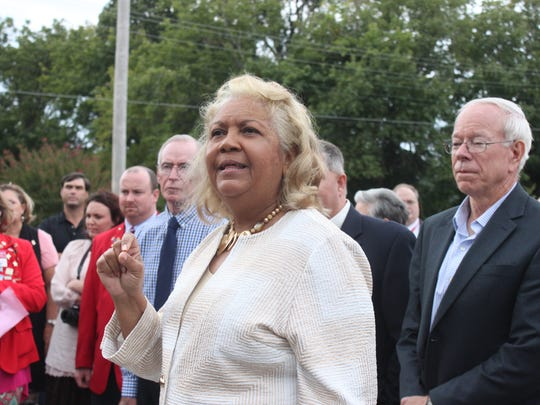 Superintendent Verna Ruffin speaks Monday at a ribbon-cutting