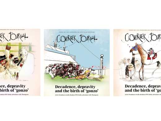 Download the Courier Journal's commemorative front pages by artist Ralph Steadman.