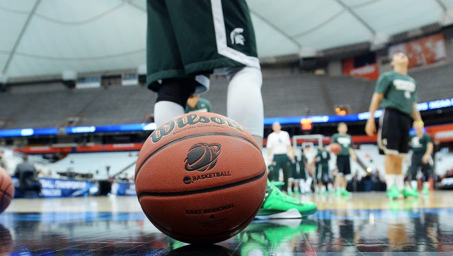 A view of a NCAA ball during practice for the semifinals of the midwest regional of the 2015 NCAA Tournament at Carrier Dome.