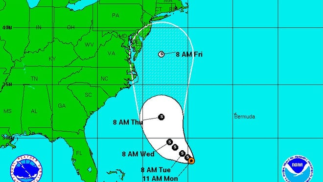 The potential five-day track for Tropical Depression Eleven, which is expected to become a tropical storm today