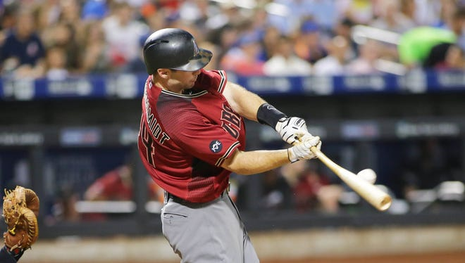 Aug 10, 2016: Arizona Diamondbacks first baseman Paul Goldschmidt (44) hits an RBI single against the New York Mets during the third inning at Citi Field.