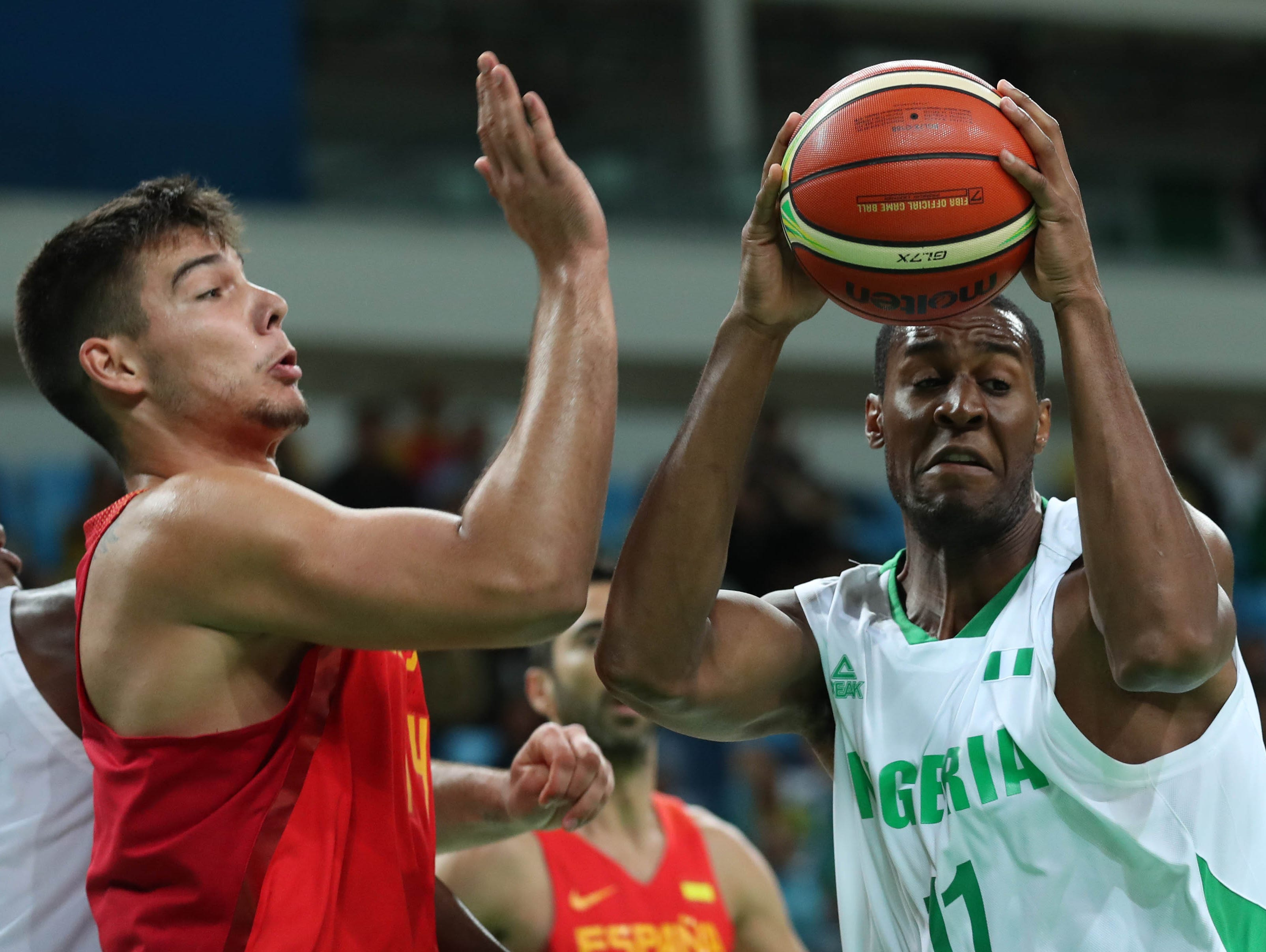 Nigeria and former CSU forward Andy Ogide (11), shown in a game earlier in the Olympics, scored two points as Nigeria beat Croatia on Saturday night.