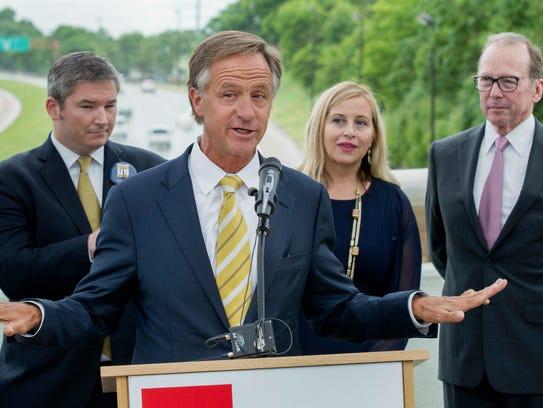 Republican Gov. Bill Haslam speaks about his road funding