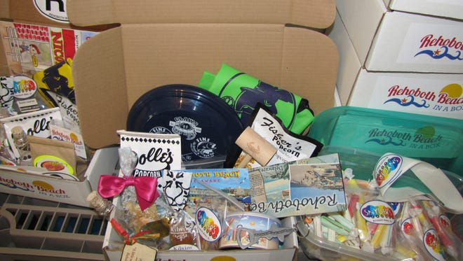 A sample box from Rehoboth Beach in a Box, a new business started by Pam McCoy.