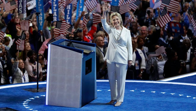 Democratic presidential candidate Hillary Clinton takes the stage during the final day of the Democratic National Convention, Thursday, July 28, 2016, in Philadelphia.
