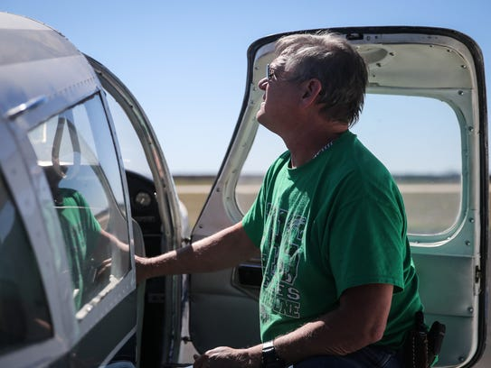JD Doyle gets ready to fly over the YFZ Ranch Tuesday,