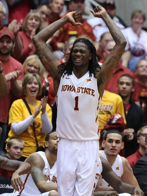 Iowa State's Jameel McKay celebrates from the bench during Saturday's 75-38 home win over Texas Tech at Hilton Coliseum. McKay made all seven of his shot attempts from the floor.
