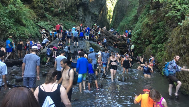 The entrance to Oneonta Gorge is often very crowded on weekends in the Columbia River Gorge, raising concerns for land managers with the U.S. Forest Service.