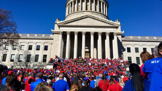 Thousands of West Virginia teachers attend a rally at the state Capitol in Charleston, W.Va..