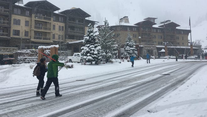 A new coat of snow fell overnight to greet skiers Monday, April 16, 2018 at Squaw Valley/Alpine Meadows.