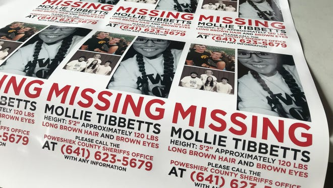 Car magnets printed by Live Now Designers in Brooklyn, Iowa, pictured on July 22, 2018. Community members continue to search for Mollie Tibbetts, a 20-year-old Iowan who was last seen on July 18, 2018.