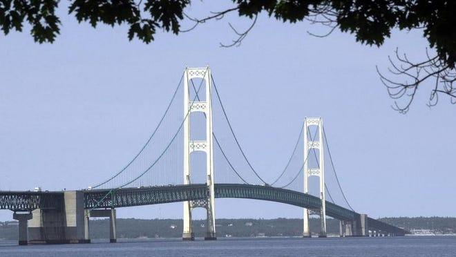 The Mackinac Bridge is shown from Mackinaw City, Mich.