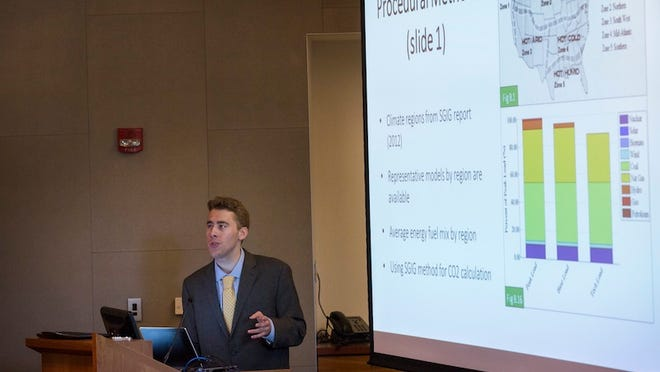Hayden Dahmm '15, presents his senior engineering project in Science 199 on the campus of Swarthmore College on Monday, May 4, 2015, in Swarthmore, Pa.
