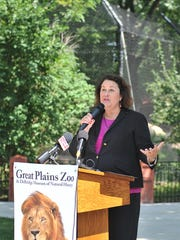 Elizabeth Whealy, president and CEO of Great Plains Zoo, announces T. Denny Sanford's major donation to fund the zoo's latest project in this file photo from 2018.