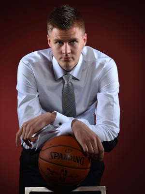 NBA draft prospect Kristaps Porzingis poses for portraits during media availability and circuit.