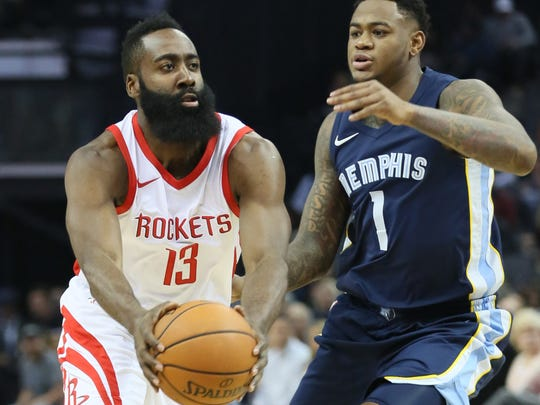 Oct 28, 2017; Houston Rockets guard James Harden (13) controls the ball in front of Memphis Grizzlies forward Jarell Martin (1) in the first quarter at FedExForum.