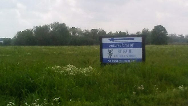 This sign indicates progress in plans for a new Catholic school in Youngsville.