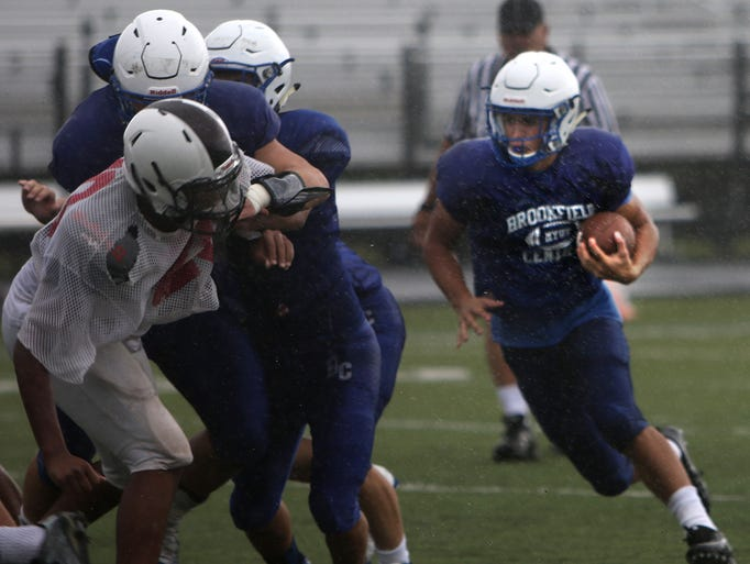 The Brookfield Central Varsity Football Team scrimmages