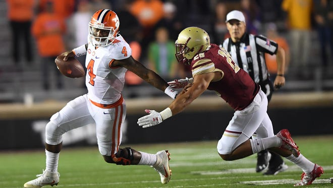 Clemson quarterback Deshaun Watson (4) plays against Boston College during the 1st quarter at Boston College's Alumni Stadium in Chestnut Hill, MA on Friday, October 7, 2016.