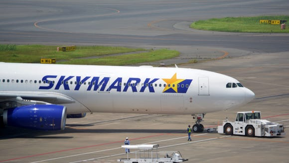 A Skymark Airlines Airbus A330-300 plane is seen at