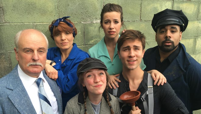 """Starring in the Cider Mill Playhouse production of """"Urinetown"""" are, clockwise from left, Craig MacDonald, Shannon DeAngelo, Danielle Newmark, Aundrea Seals, Niko Kaim and Brianna Ford."""