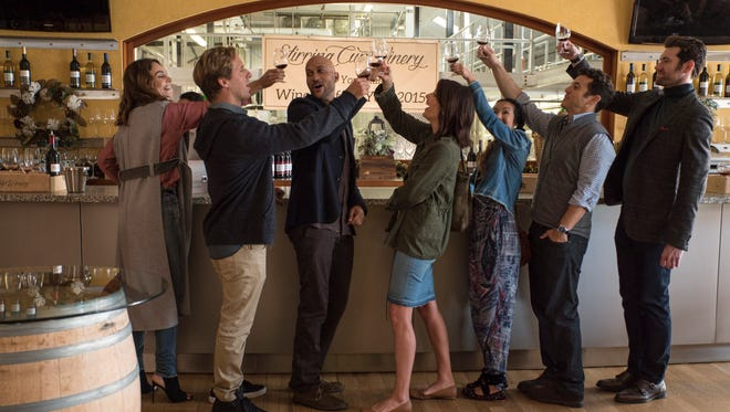 """Nettflix's """"Friends from College"""" features, from left, Annie Parisse, Nat Faxon, Keegan-Michael Key, Cobie Smulders, Jae Suh Park, Fred Savage and Billy Eichner."""
