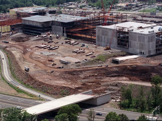 Aerial view of the Palisades Center under construction in 1997.