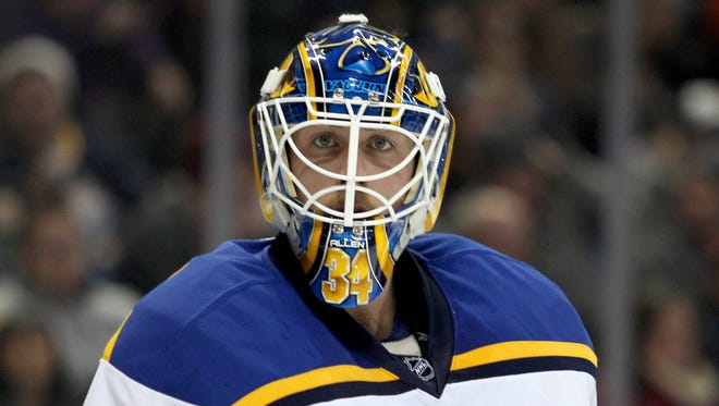 St. Louis Blues goalie Jake Allen looks for the puck during the second period against the Buffalo Sabres.