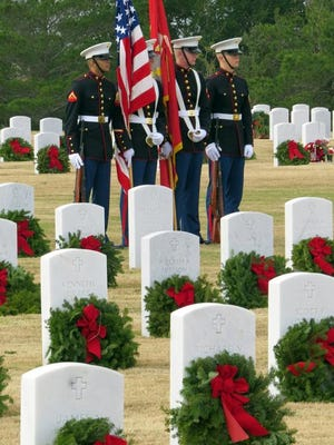The color guard at the Wreaths Across America observance.
