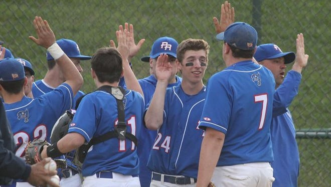 Pearl River players celebrate their 11-4 win in a Class A baseball outbracket game at Tappan Zee May 20, 2015.