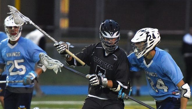 Sussex Tech's Nate Quillin (5) recorded a hat trick as the Ravens defeated Lake Forest 24-16 in a DIAA playoff game.