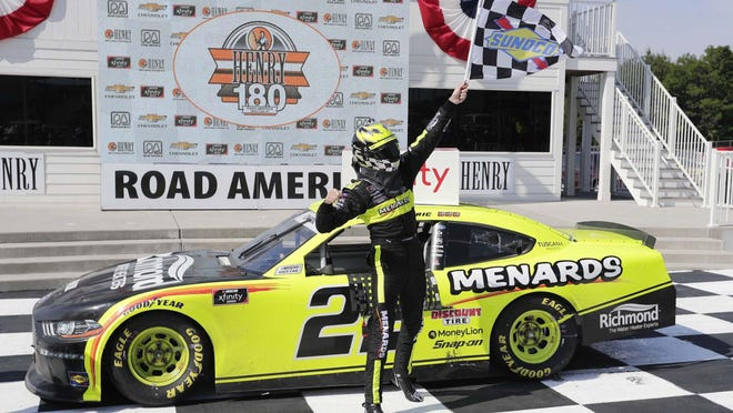 Austin Cindric reacts to winning the NASCAR Xfinity Series Henry 180 on Saturday at Elkhart Lake, Wis. Road America.