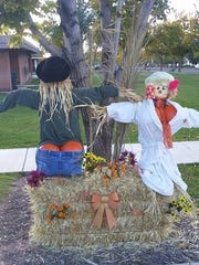 A variety of scarecrows line Main Street in Parowan during the Halloween season in this undated photo.