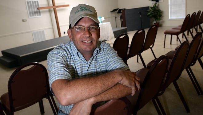 Jimmy Sistrunk, chaplain of the Winner's Circle Church, sits in the sanctuary at Harrah's Louisiana Downs. Winner's Circle Church is an outreach ministry of Shreveport Community Church.