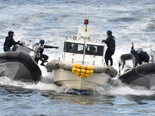 Japan's coast guard conducts drills near Tokyo on Oct.