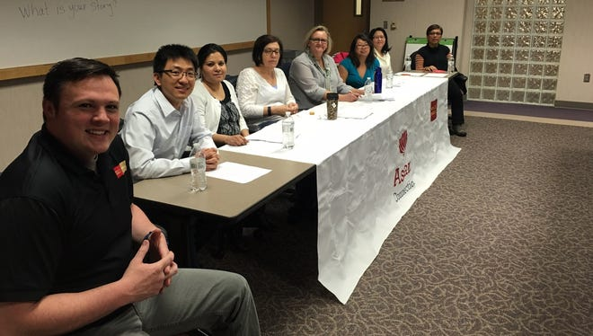 Members of the Asian Connections team at Wells Fargo led a discussion sharing their immigration stories. This is just one of the diversity teams at Wells Fargo in Sioux Falls.