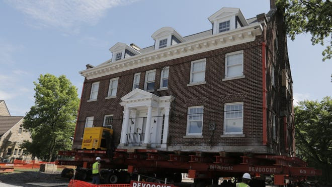 The Schriber House located at 1428 Algoma Blvd. in Oshkosh is being rotated 180 degrees getting ready for the relocation.  The move is supposed to take place on Saturday.  DeVooght House Movers is doing the house moving.
