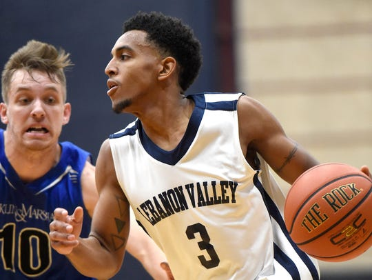 Lebanon Valley's Ricky Bugg brings the ball down the