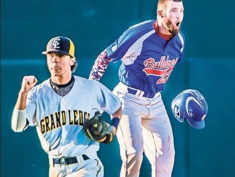 Jake Scavarda, right, of Mason reacts after being called out from a tag by Sam Goodman, left, of Grand Ledge as Scavarda was advancing to second base with twoouts in the bottom of the seventh inning of their Diamond Classic semifinal game Monday at Cooley Law School Stadium in Lansing.