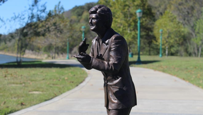 A close-up of a model of the Pat Head Summitt statue that will be placed at the park along the Cumberland riverfront.