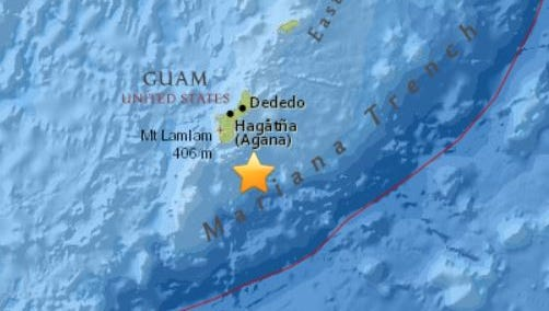 A 4.7 earthquake was reported south-southeast of Guam at 4:17 p.m.