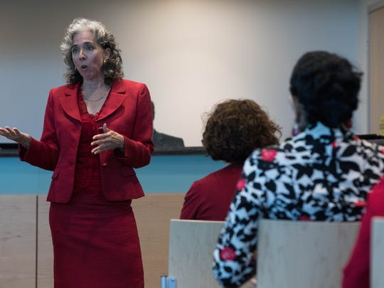 Judge Lisa Gonzalez, Nueces County Court at Law #2, speaks as the YWCA Corpus Christi hosts their Equal Pay Day luncheon at Corpus Christi Regional Transportation Authority headquarters on Tuesday, April 4, 2017.