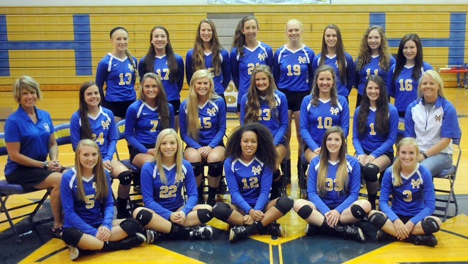Members of the 2015 Mountain Home Lady Bomber volleyball team are: first row, from left, Abby Williams, Britney Leonard, Desiree Mitchell, Ashley Pyeatt, Mackayla Medley; second row, assistant coach Cathy Beckham, Zoe Parsons, McKenzie Brannon, Kennedy Weiand, Katie Wehmeyer, Cassie Martin, Ashlyn Paden, head coach Lindsey Leonard; third row, Hannah Pfeifer, Hope Menendez, Maly Tabor, Chloe Keeling, Cameron Boyett, Maddie Grothe, Ally Stout and Stephanie Nicholson.