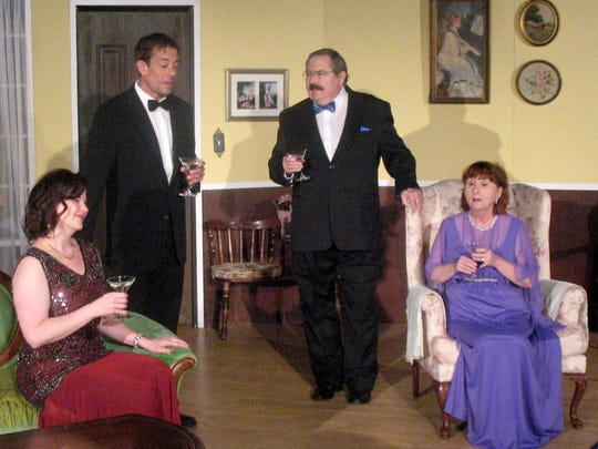 Charles (Kirk Ballard, second from left) converses with his wife, Ruth (Pamela Rhodes) and dinner guests Dr. and Mrs. Bradman (Bob Sellar, Phyllis Kappus).