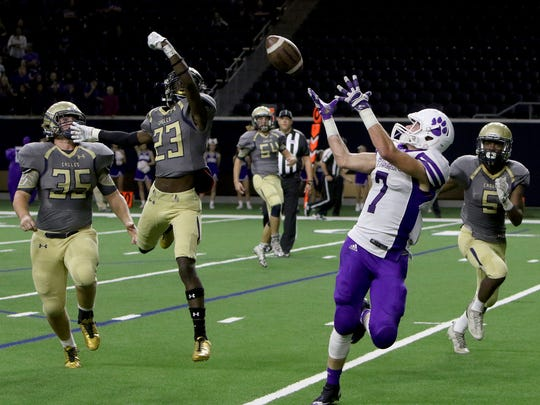 Jacksboro's Ty Kennedy makes the catch and runs in for a touchdown against New Diana Thursday, Nov. 30, 2017, at The Star in Frisco.
