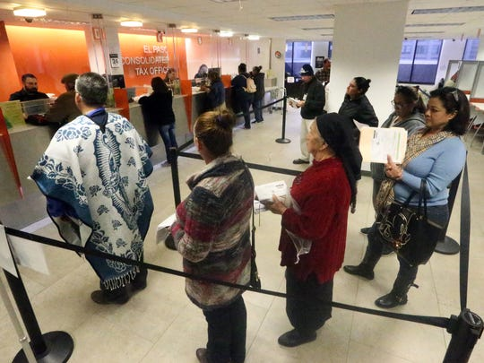 Property owners line up to pay their 2017 property taxes at the El Paso Consolidated Tax Office on the third floor of the Wells Fargo bank building in Downtown El Paso in January.