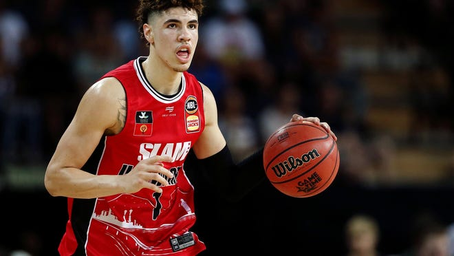 LaMelo Ball of the Illawarra Hawks in action agaisnt the New Zealand Breakers at Spark Arena in Auckland, New Zealand, on Nov. 30, 2019.