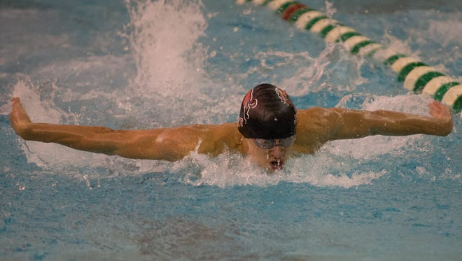 Brandon Raley from Lafayette Jeff won the 100 Butterfly at the Boys Swimming Sectional at Zionsville high School on 2/17/18