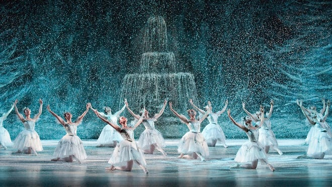 """Courtesy Louisville Ballet Louisville Ballet?s production of ?The Nutcracker? features a snow scene with a view of the St. James Court Fountain. Louisville Ballet's production of """"The Nutcracker"""" features a snow scene with a view of the  St. James Court Fountain."""